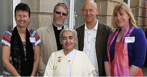 Left to right: Julie Roberts, David MacGeoch, Sister Jayanti, William Bloom, Sarah Jane Williamson
